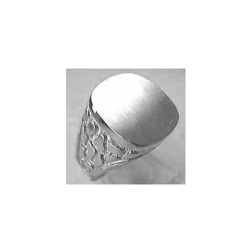 image of 40-GW305 Signet ring_Mens white gold with side design-large cushion style