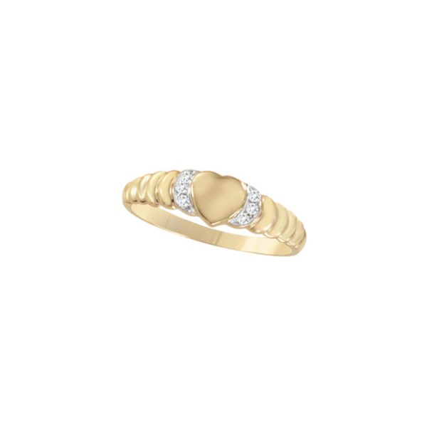 image of 40-L625 Signet Rings_Heart shape with diamond for young girls