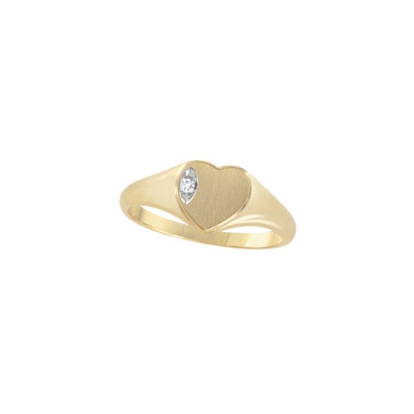 image of 40-L626 Signet Rings_Heart shape with diamond for young girls
