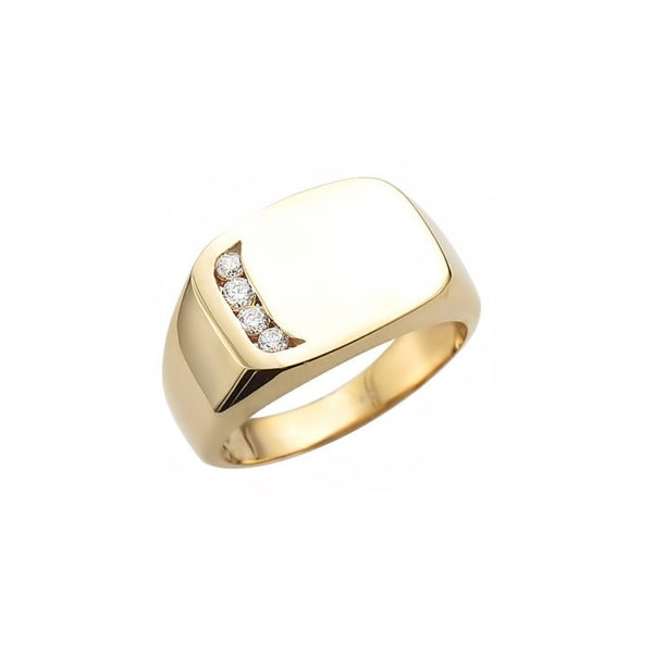 image of 40-RM274 SIGNET RINGS_YELLOW OR WHITE GOLD CUSHION STYLE WITH DIAMONDS_ 8.59g in 14kt 12.5mm wide 2.5mmX4stones hollow under