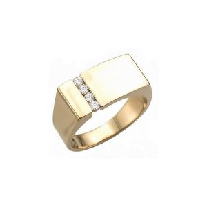 IMAGE OF 40-RM276 SIGNET RINGS_YELLOW OR WHITE GOLD RECTANGULAR STYLE WITH DIAMONDS_ 6.69g in 14kt 9.4mm wide 2.25mmX4stone hollow under