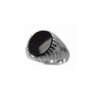 40-b625w Mens black onyx ring, Set with a fine quality 12x10mm oval cut high polished flat black onyx, Set in as bezel set