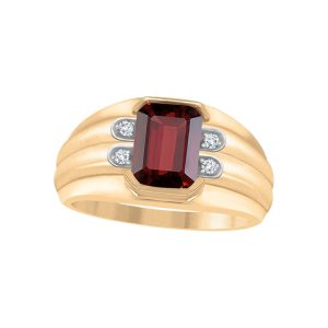 45-AD128 Men stone rings_Genuine garnet bezel set ,accented with diamonds