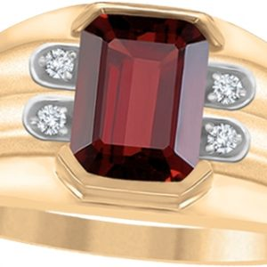image of 45-AD128 Men stone rings_Genuine garnet bezel set ,accented with diamonds