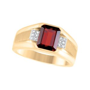 45-AO109 Men stone rings_Genuine garnet bezel set ,accented with diamonds