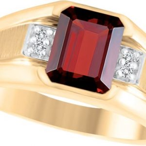 image of 45-AO109 Men stone rings_Genuine garnet bezel set ,accented with diamonds