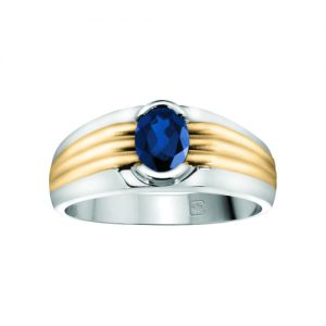 45-CY119 Men stone rings_Genuine Blue Sapphire bezel set