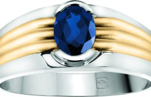 image of 45-CY119 Men stone rings_Genuine Blue Sapphire bezel set