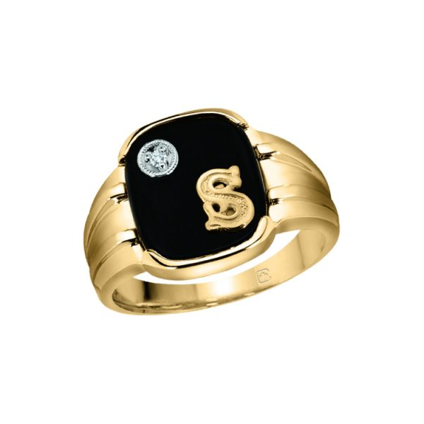 45-DK112 Men stone rings -MANS BLACK ONYX RING WITH INITIAL AND DIAMOND_