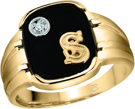 image of 45-DK112 Men stone rings -MANS BLACK ONYX RING WITH INITIAL AND DIAMOND_