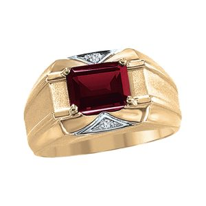 45-G082 Men stone rings_Genuine garnet bezel set ,accented with diamonds
