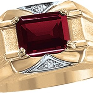 image of 45-G082 Men stone rings_Genuine garnet bezel set ,accented with diamonds