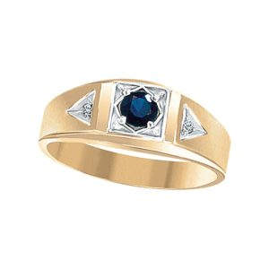 45-G085 Men stone rings_Genuine Blue Sapphire bezel set, side diamonds