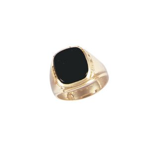 45-G138 Men stone rings_Black onyx bezel set