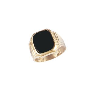 45-G582 Men stone rings_Black onyx bezel set