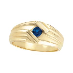 45-T076 Men stone rings_Genuine Blue Sapphire bezel set