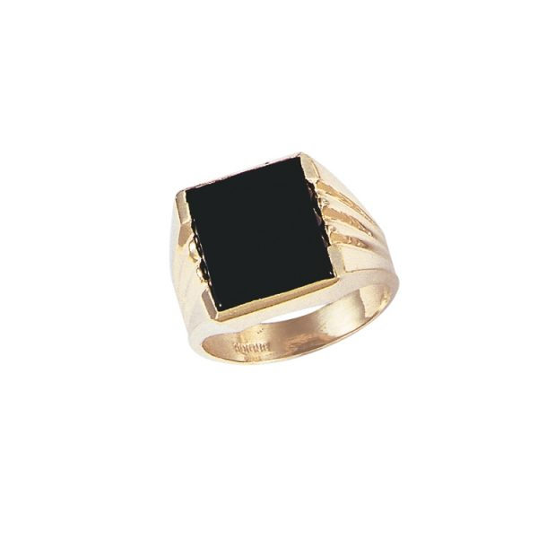 45_G137 Men stone rings_Black onyx bezel set