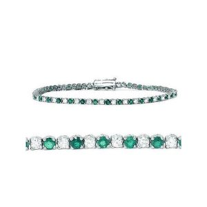 image of BR-100E Diamond bracelets_3-00ct-emerald-and-diamond-genuine-tennis-bracelet-14k-white-gold