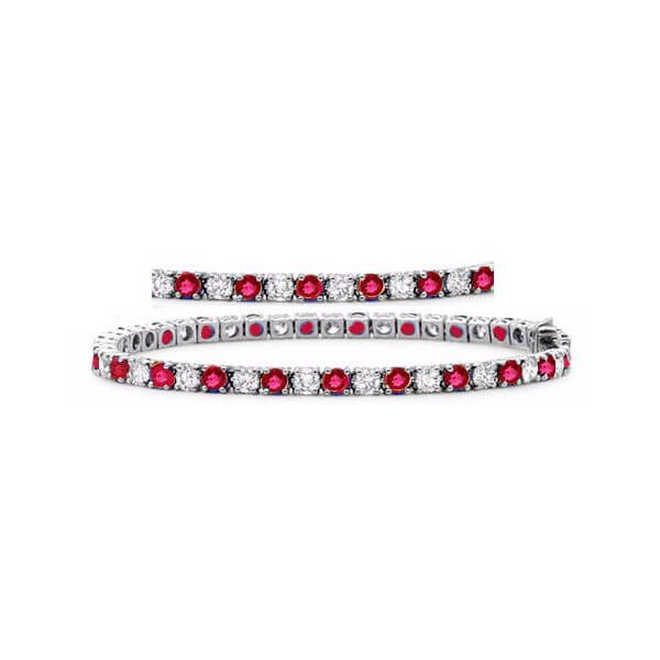 image of BR-711R Diamond bracelets_1ct-diamond plus fine quality rubies-tennis-bracelet-14k-white-gold