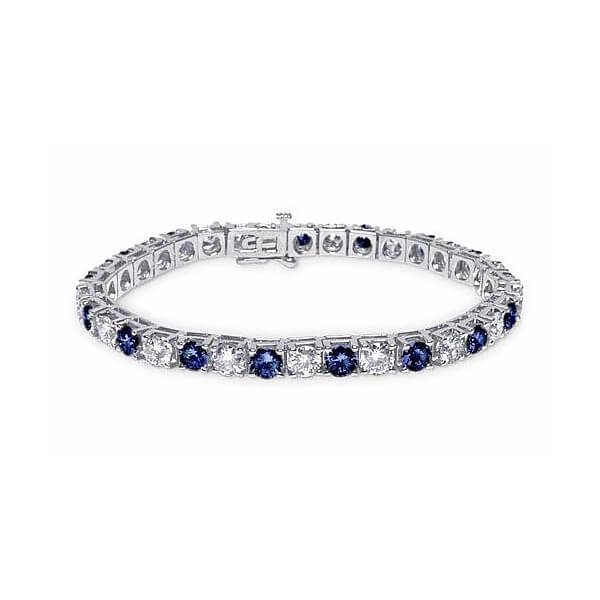 image of BR-788 Diamond bracelets_1ct-diamond plus fine quality blue sapphires-tennis-bracelet-14k-white-gold