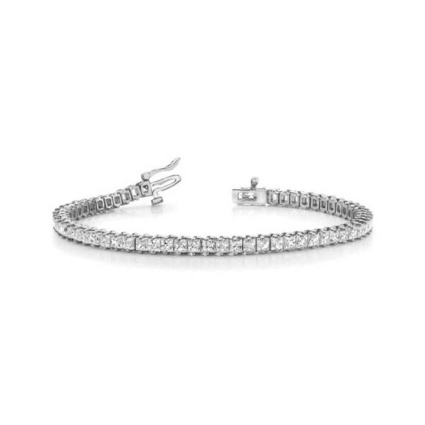 image of BR-D203 Diamond bracelets_3ct-princess cut diamond-tennis-bracelet-Tennis-Bracelet