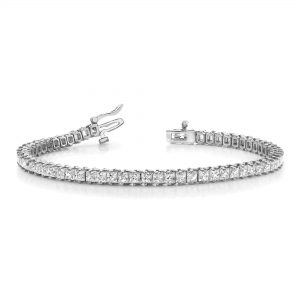 image of BR-D204 Diamond bracelets_4ct-princess cut diamond-tennis-bracelet-Tennis-Bracelet