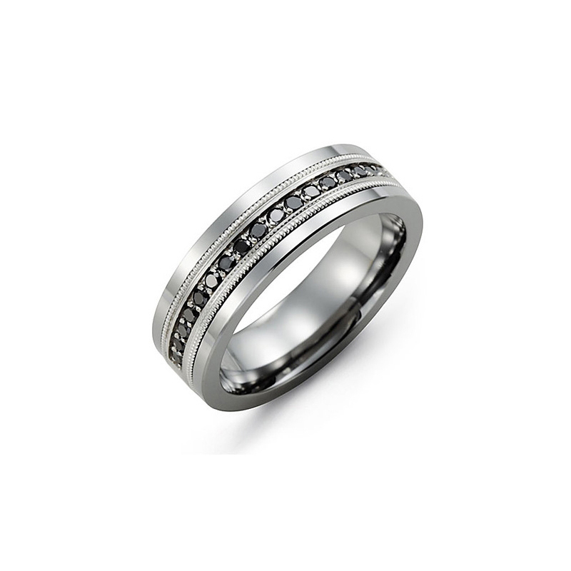 Men Diamond wedding bands White gold set with Black diamonds