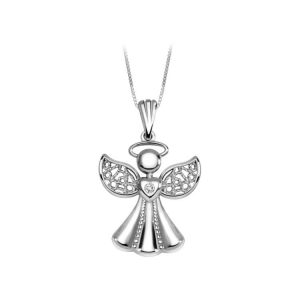 "Angel pendant with open wings nice design set with one diamond 0.03Ct. plus 18"" long chain."