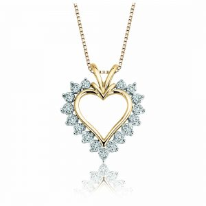60-9040 Heart pendants_Diamond set heart necklace 0.35ct