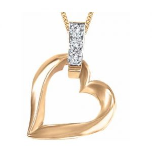 "60-AJ-17 For Her,Heart pendant, 0.05Ct. diamonds plus 18"" chain"