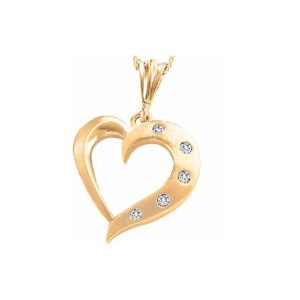 60-AJ16 Heart pendants_Diamond set heart necklace 0.06ct. total weight