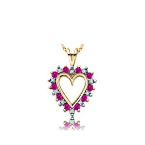 60-AJR Heart pendants_Diamond and ruby set heart necklace 0.33ct. total weight_