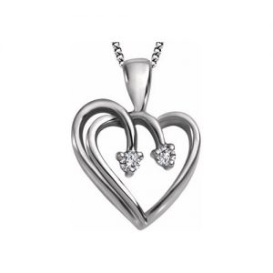 60-BV45 Heart pendants_Diamond set heart necklace 0.03ct. total weight