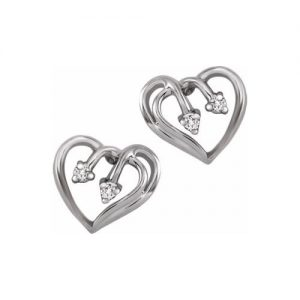 60-BV46 Heart pendants_Diamond set heart earring, set with 0.06ct. total weight