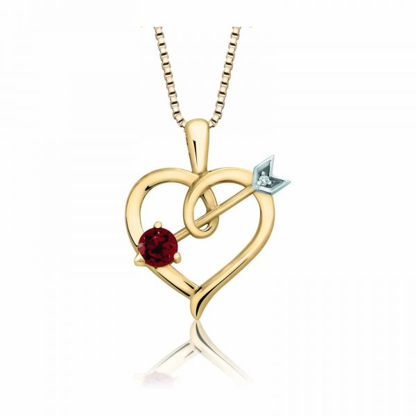 60-DB76 Heart pendants_Diamond set heart necklace_ Birthstone available in all 12 months, 0.02ct. total weight