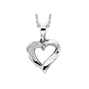 60-H201 Heart pendants_Diamond set heart necklace 0.06ct. total weight
