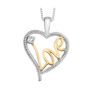 "Beautiful design Heart pendant white and yellow gold set with a fine quality 0.03Ct. Including 18"" long chain."