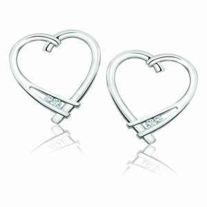 60-T249A Heart pendants_Diamond set heart earrings 0.05ct. total weight