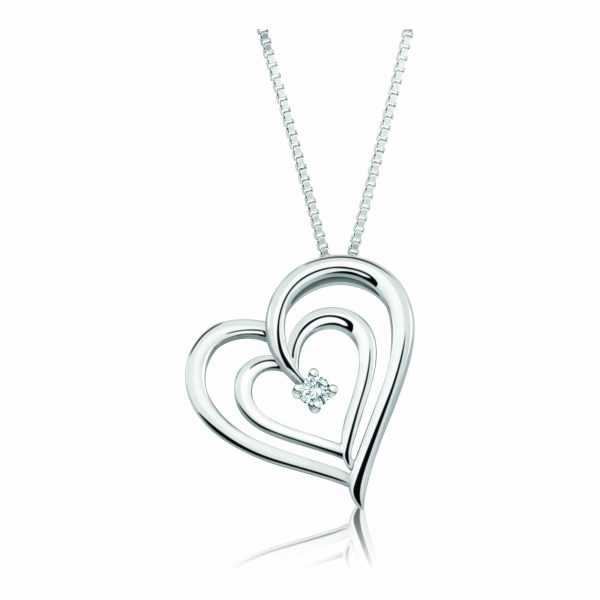 "For Her,Heart pendant, 0.03Ct. diamonds plus 18"" chain"