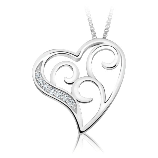 60-T251 Heart pendants_Diamond set heart necklace 0.08ct. total weight