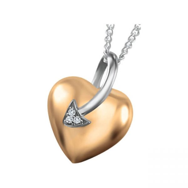 60-T599 Heart pendants_Diamond set heart necklace 0.05ct. total weight