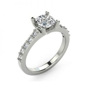 Image of an Individual Engagement Ring Diamond with Side Stone