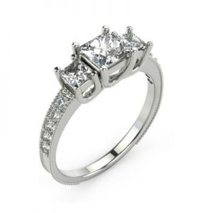 Image of an Individual Engagement Rings Diamond Trinity