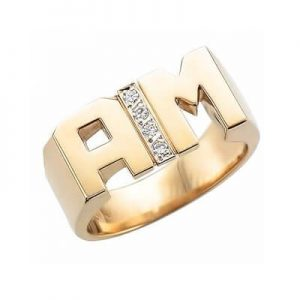Image of Initial Rings for Him with Diamonds Category
