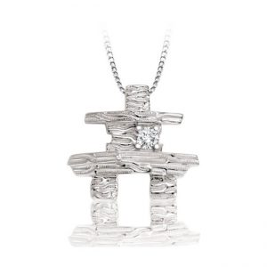 Inukshuk _60-777_ GIFT IDEA with diamond and chain