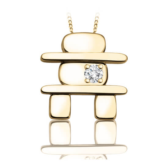 Inukshuk _60-778_ GIFT IDEA with diamond and chain