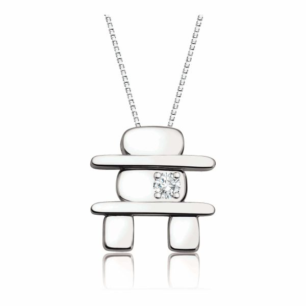 Inukshuk _60-778_ GIFT IDEA with diamond and chain white gold