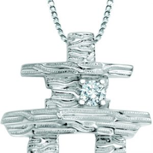 Inuksuk White gold with diamond and 18 inch chain P-106A