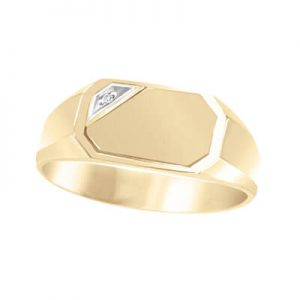 Image for Signet ring for him diamond yellow gold Category Link