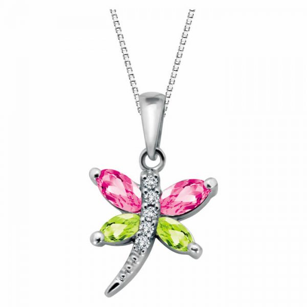 Genuine stones and diamond butterfly pendant for her - P124